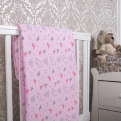 """Купить трикотажное детское покрывало """"Мишки-малышки розовое"""""""